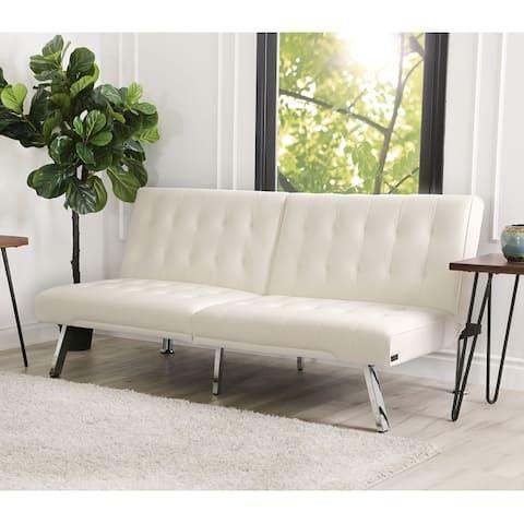 Abbyson Jackson Ivory Faux Leather Foldable Futon Sofa Bed
