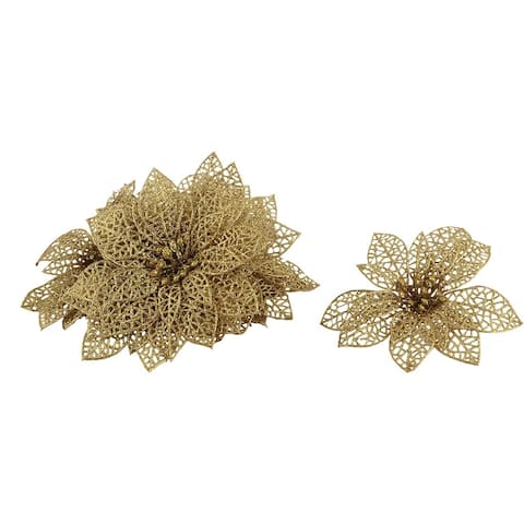 Home Christmas Tree Artificial Ornaments Flower 10 Pcs - Gold Tone