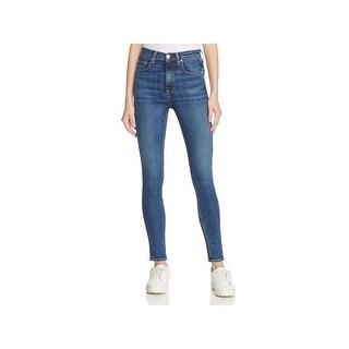 Rag & Bone Womens Skinny Jeans Medium Wash Destroyed