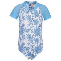 Sun Emporium Little Girls Blue Paisley Back Zip Short Sleeve Surf Suit
