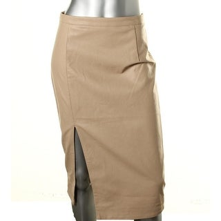 Bardot Womens Faux Leather Slit Pencil Skirt