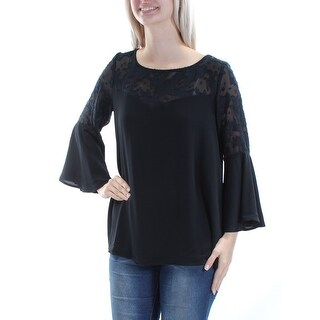 Womens Black Bell Sleeve Boat Neck Casual Top Size 16