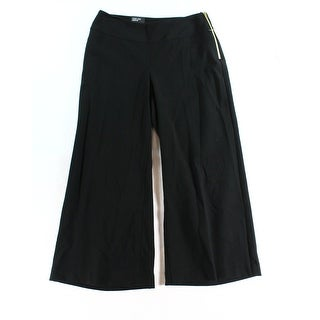 INC NEW Solid Black Women's Size 10 Wide-Leg Capris Cropped Pants