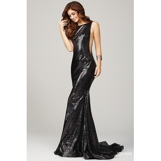 Fully Sequin Sheer Panel Gown