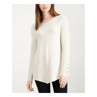 ALFANI Womens Ivory Metallic Swing Long Sleeve Jewel Neck Sweater Size XL