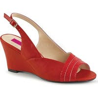 Pleaser Pink Label Women's Kimberly 01SP Wedge Slingback Red Faux Leather