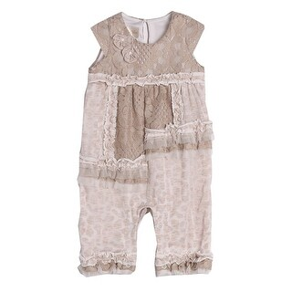 Isobella & Chloe Baby Girls Taupe Knit Lace Ruffle Pattern Romper (5 options available)