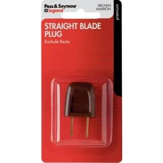 Pass & Seymour Straight Blade Plug, 6A, 125V, Brown