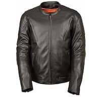 Mens Leather Vented Scooter Jacket with Kidney Back Padding