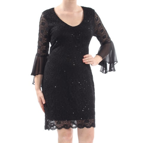 CONNECTED Womens Black Lace Scallop Trim Floral Bell Sleeve Scoop Neck Above The Knee Sheath Party Dress Size: 10