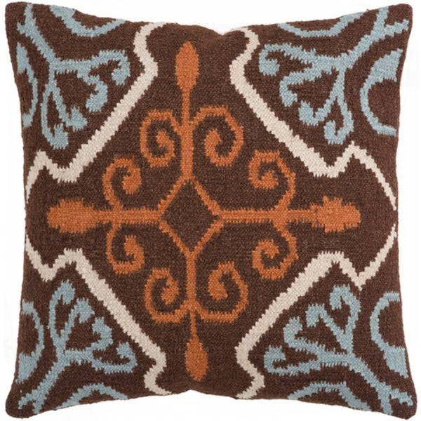 """22"""" Holy Flowers LIght Blue and Chocolate Brown Decorative Throw Pillow Shell"""