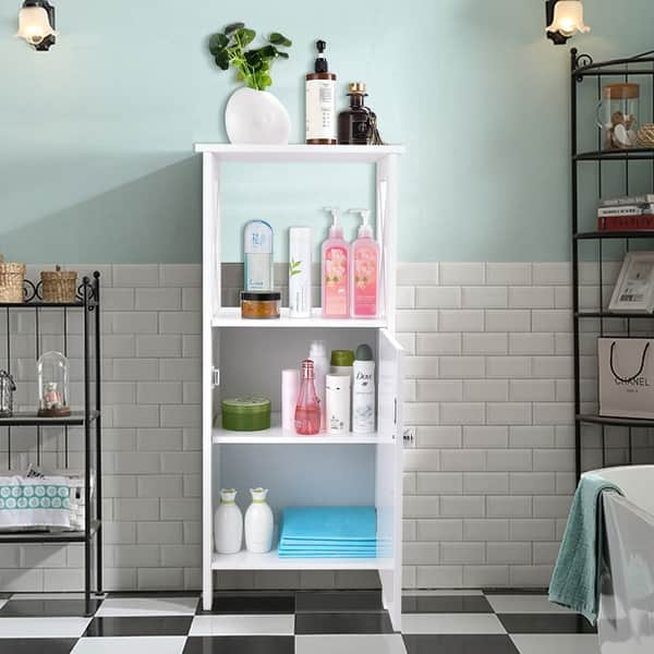Shop Costway Floor Cabinet Bathroom Organizer Floor Towels Storage Cabinet On Sale Overstock 20708403