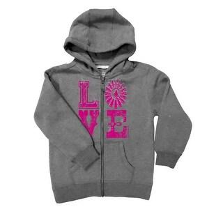 Farm Girl Western Sweatshirt Girl Love Zip Windmill Charcoal F83037121