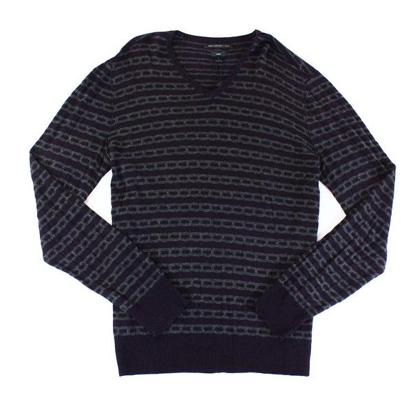 Shop John Varvatos New Purple Mens Size Large L Cable Knit V Neck