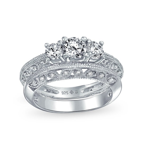 Filigree 3 CT Solitaire 3 Stone CZ Engagement Ring 925 Sterling Silver. Opens flyout.