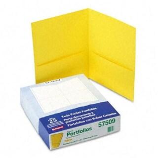 Oxford Twin-Pocket Portfolio- Embossed Leather Grain Paper- Yellow