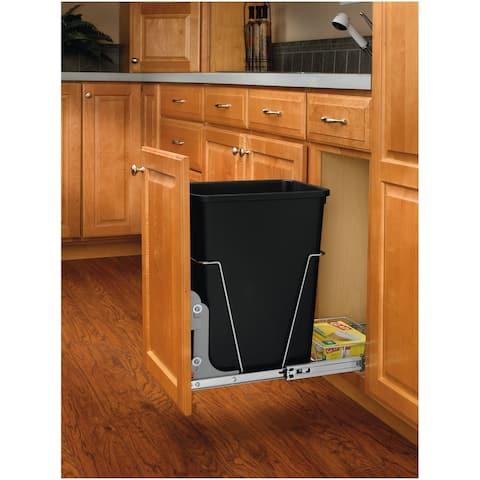 Rev-A-Shelf RV-12KD-18C S RV Series Bottom Mount Single Bin Trash Can - Black