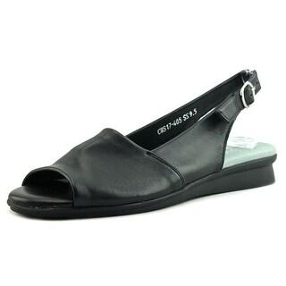 David Tate Norma N/S Peep-Toe Leather Flats