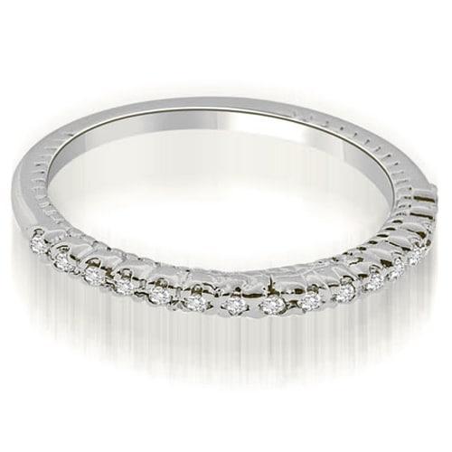 0.24 cttw. 14K White Gold Antique Style Round Cut Diamond Wedding Ring