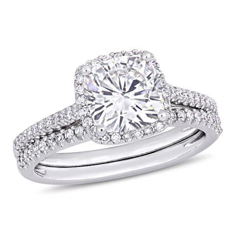 2ct TGW Cushion-Cut Moissanite and 1/3ct TDW Diamond Bridal Ring Set in 14k White Gold by Miadora