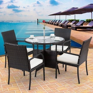 Costway 5PCS Rattan Wicker Garden Patio Furni Set Chairs Round Table Outdoor