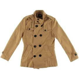 Owind Womens Solid Long Sleeves Trench Coat - L