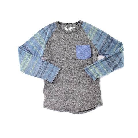 Brooklyn Cloth Boys' Baseball Tee Gray Blue Large L Marled Aztec Print