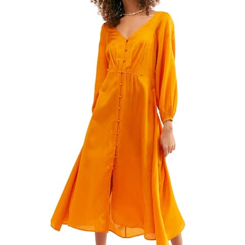 Free People Women's Dress Deep Yellow Size 2 Shift Button Front