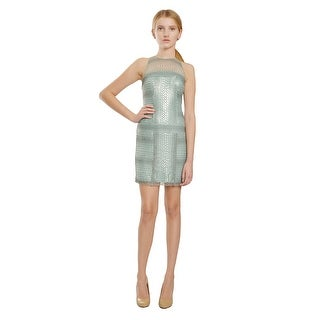 Tadashi Ombre Mint Circle Lace Inverted Neckline Evening Party Dress - 10