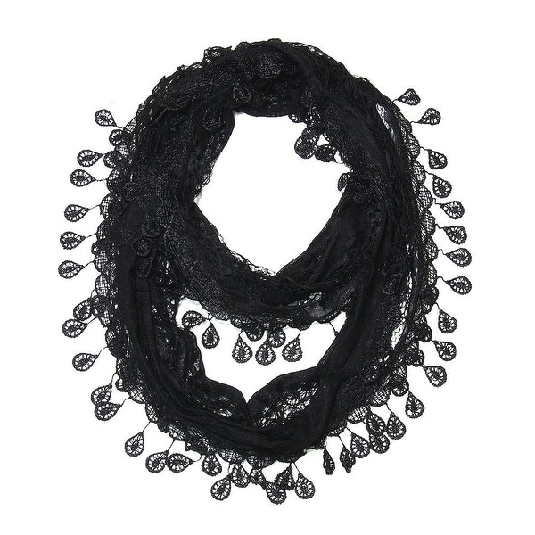"Women's Sheer Lace Scarf With Teardrops Fringe - Black - 62"" x 12"""
