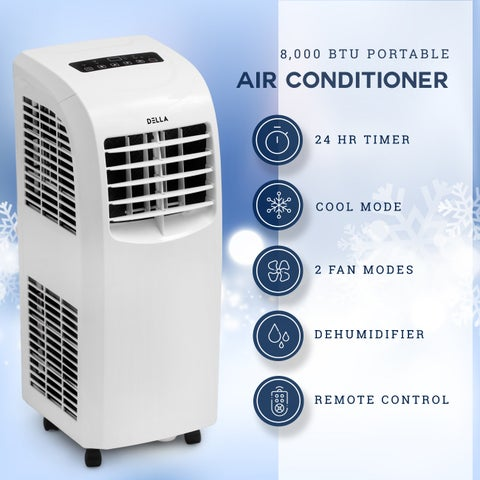DELLA 8000 BTU Portable Air Conditioner Fan 70 Pint/Day Dehumidifier Timer Rooms Up to 350 Sq.Ft Window Kit