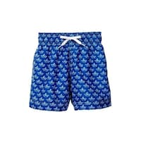 Azul Baby Boys Navy Paper Boat Allover Print Drawstring Swim Shorts - 12-18 months
