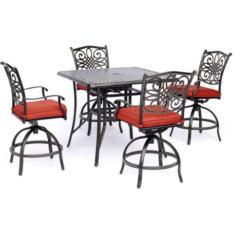 Hanover Traditions 5-Piece High-Dining Set in Red with a 42 In. Square Cast-Top Table
