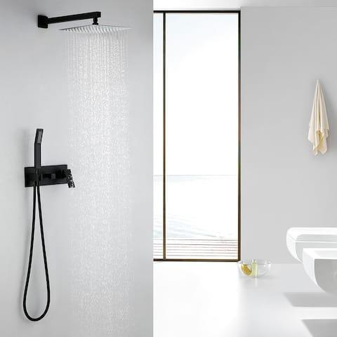 Wall Mounted Matte Black Bathroom Rain Shower System