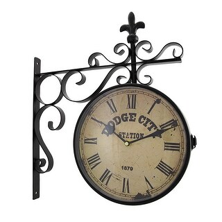 Double Sided Dodge City Station Hanging Wall Clock - 16 X 14 X 3 inches