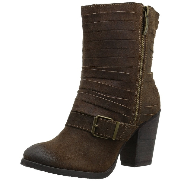 Naughty Monkey Womens Do Re Mi Suede Closed Toe Mid-Calf Fashion Boots