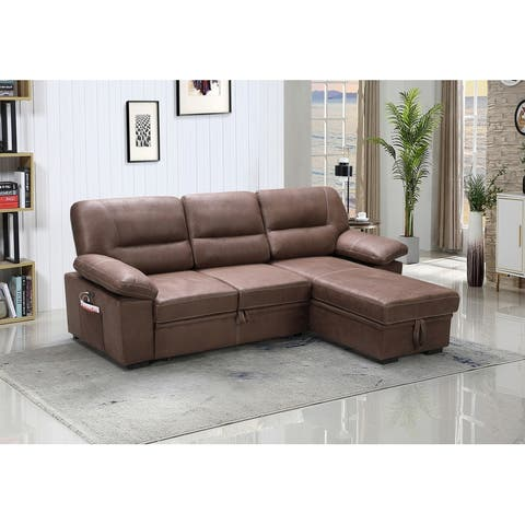 Rosina Brown Reversible Sleeper Sectional Sofa Chaise with USB Charger