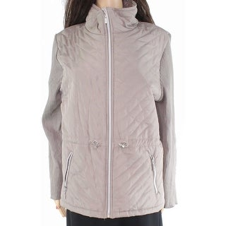 Thomas & Olivia Women's Jacket Beige Size XL Knit Quilted Full-Zip