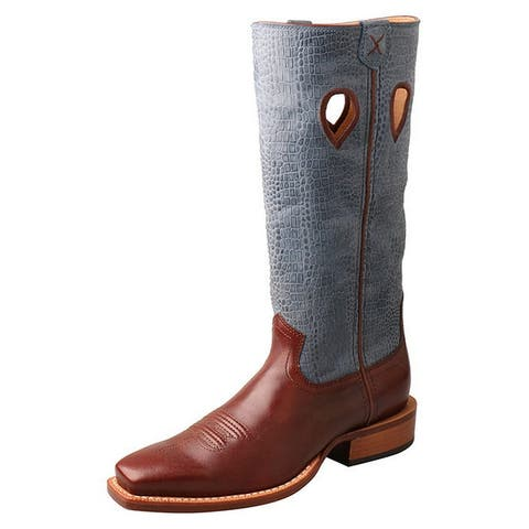 Twisted X Western Boots Women Ruff Stock Leather Sky Blue Cafe
