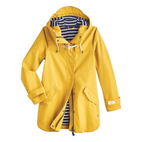 Joules USA Womens Yellow Coast Raincoat - Hooded Raincoat from Keeping Faith - Antique Gold