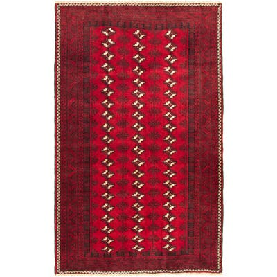 """Hand-knotted Khal Mohammadi Red Wool Rug - 4'8"""" x 6'11"""""""