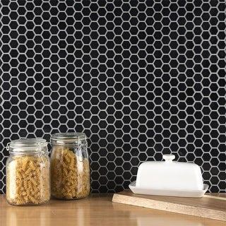SomerTile 10.25x11.88-Inch Victorian Hex Glossy Black Porcelain Mosaic Floor and Wall Tile (10 tiles/8.65 sqft.)