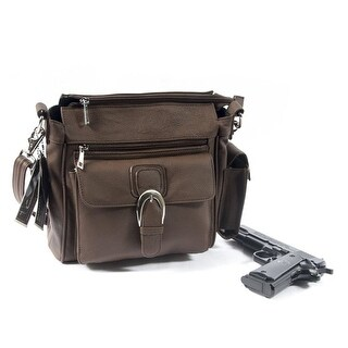 Roma Leather Concealment Purse w/Buckle (Brown) - Brown