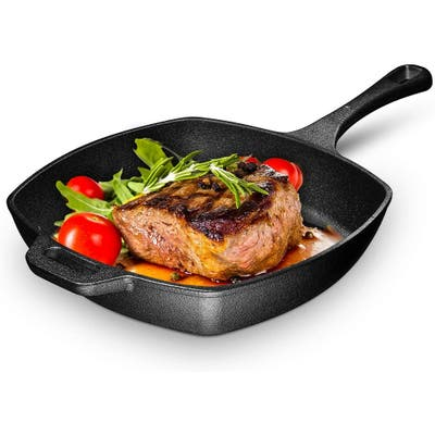 Pre-seasoned Grill Pan with Easy Grease Draining for Grilling Bacon, Steak, and Meats, Stove, Fire and Oven Safe For Camping