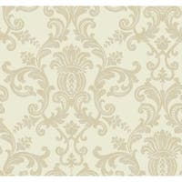 York Wallcoverings DC1351 Beige Book Silk Damask Wallpaper - white/pearl