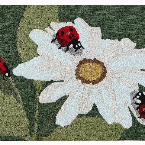 Liora Manne Frontporch Ladybugs Indoor/Outdoor Rug Green