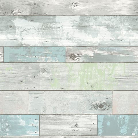 "Brewster NU1647 30-3/4 SF ""Beachwood"" Peel and Stick Vinyl Wallpaper -"