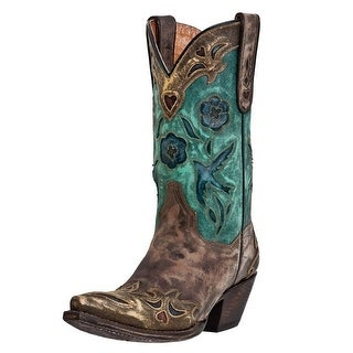 Dan Post Western Boots Womens Bluebird Inlay Sanded Copper Teal DP3544