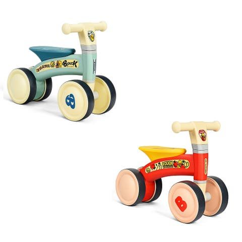 Gymax 4 Wheels Kids Balance Bike No Pedal Baby Walker Toys Ride Toddler Bicycle