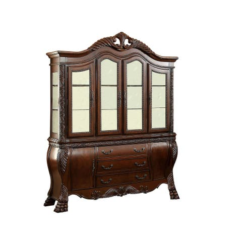 4 Door Traditional Hutch and Buffet Set with 2 Cabinets and 3 Drawers,Brown